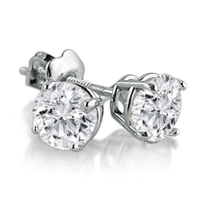 IGI Certified 1 1/4ct tw Round Diamond Stud Earrings in 14K White Gold with Screw-Backs
