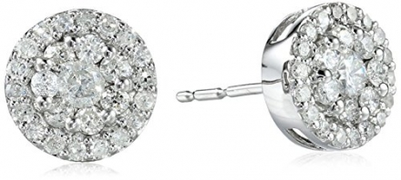 10k White Gold Round-Diamond Cluster Earrings (1/2 cttw, I-J Color, I2-I3 Clarity)