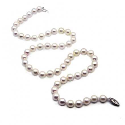 14k White Gold 7.0-7.5mm White Japanese Saltwater Akoya Pearl High Luster Necklace 18″, AAA Quality.