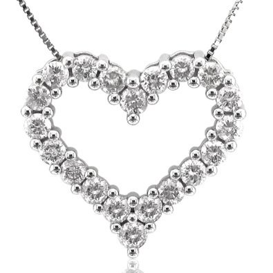 14K White Gold Heart Diamond Pendant Necklace (GH, I1-I2, 1.00 carat)