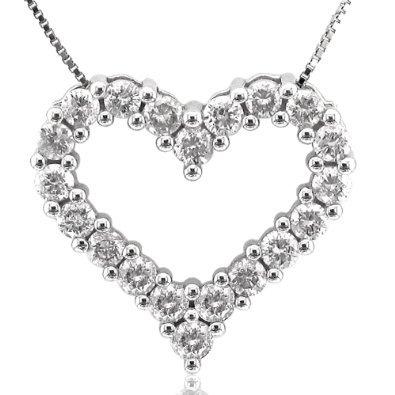 14K White Gold Heart Diamond Pendant Necklace (GH, I1-I2, 1.00 carat)
