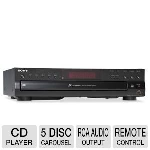 Sony Compact Disc Player – 5 Disc Carousel, Optical Output, RCA Audio Output, CD Text Display + 100