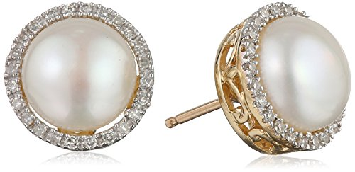 10k Yellow Gold Lady Di Freshwater Cultured Pearl and Diamond Stud Earrings