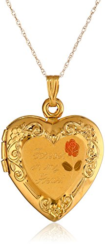 """Duragold 14k Yellow Gold """"Forever In My Heart"""" Locket Necklace, 18″"""