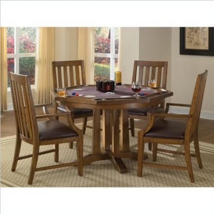 Home Styles 5900-318 Arts and Crafts 5-Piece Game Table Set, Distressed Oak Finish