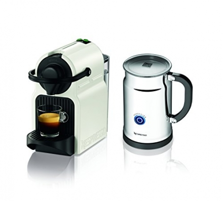 Nespresso Inissia Espresso Maker with Aeroccino Plus Milk Frother, White
