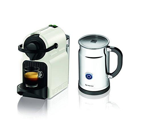 Nespresso Inissia Espresso Maker with Aeroccino Plus Milk Frother, White