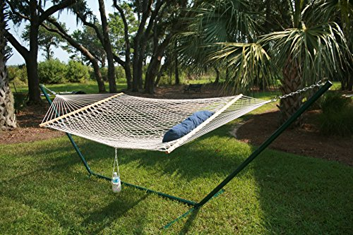 Double Rope Hammock Kit with Heavy Duty Metal Stand, Removable Wheels, Storage Bag and Soft Pillow b