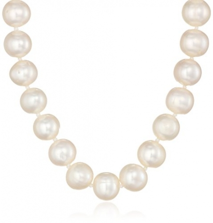 Sterling Silver and White A-Quality Freshwater Cultured Pearl Strand Necklace (7.5-8mm), 18″