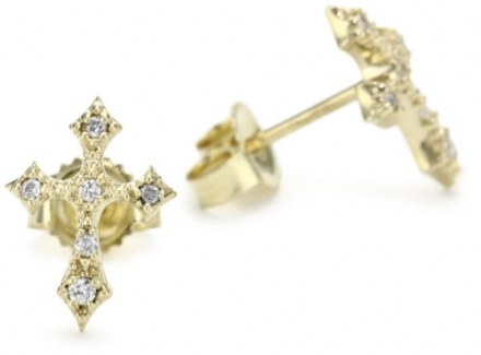 Mizuki Petite Gold and Diamond Gothic Cross Stud Earrings