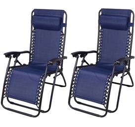 Outsunny Zero Gravity Recliner Lounge Patio Pool Chair – 2 PACK – Blue