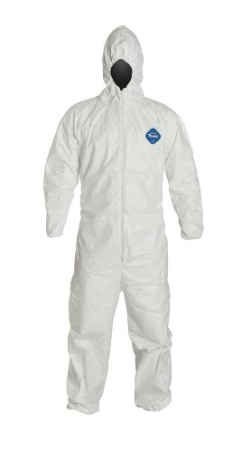 DuPont Tyvek TY127S  Disposable Coverall with Hood, Elastic Cuff, White, X-Large (Pack of 25)
