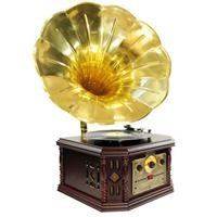 PYLE-HOME PVNP4CD Vintage Phonograph Horn Turntable with CD, Cassette, AM/FM, Aux-In and USB-to-PC R
