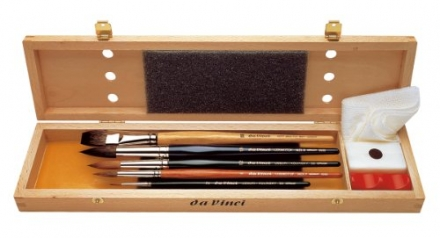 Da Vinci Series 5240 Watercolor Deluxe Wood Box 5 Brush Set