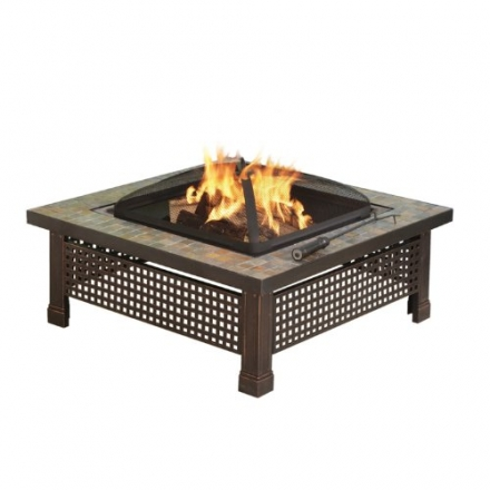 Pleasant Hearth Bradford Square Natural Slate 34-Inch Fire Pit with Copper Accents