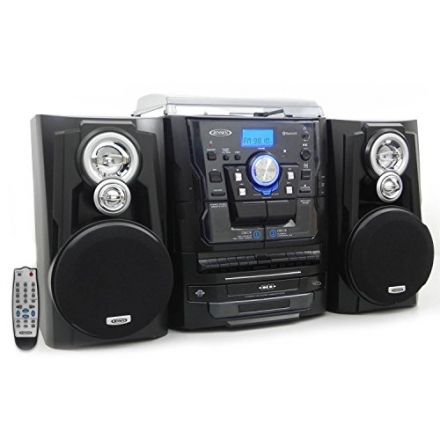 Jensen JMC-1250 Bluetooth 3-Speed Stereo Turntable and 3 CD Changer with Dual Cassette Deck