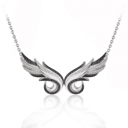 925 Sterling Silver Double Angel Feather White and Black Diamond Pendant Necklace (GH, I1-I2, 0.36 c