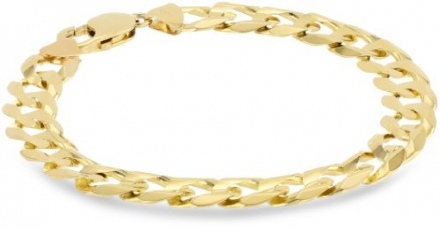Klassics 10k Yellow Gold 11mm Curb Chain Men's Bracelet, 9″