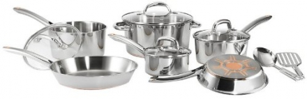 T-fal C798SC64 Ultimate Stainless Steel Copper-Bottom Heavy Gauge Multi-Layer Base Dishwasher Safe PFOA Free Oven Safe Cookware Set, 12-Piece, Silver