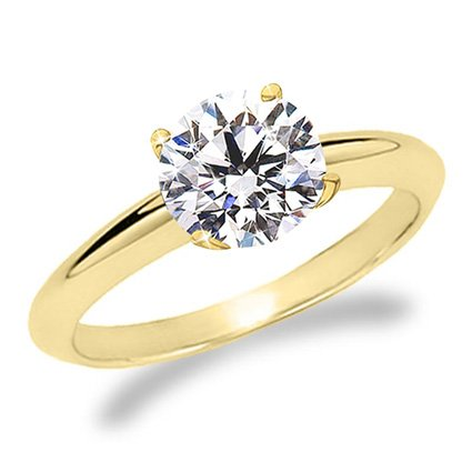 1 Carat Round Cut Diamond Solitaire Engagement Ring 14K Yellow Gold 4 Prong (K, SI2-I1, 1 c.t.w) Ide