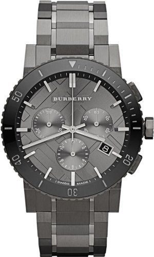 Burberry Chronograph Gunmetal Dial Grey Ion-plated Stainless Steel Mens Watch BU9381