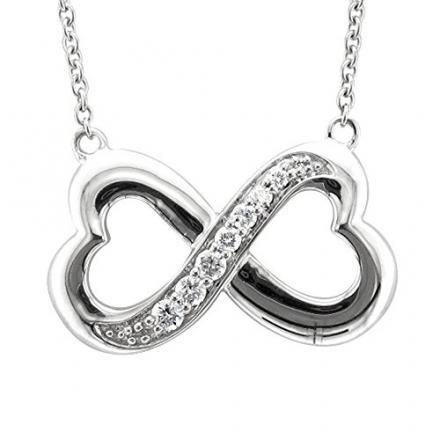 Sterling Silver Infinity Heart 7 Stone Diamond Pendant Necklace (GH, I1-I2, 0.25 carat)