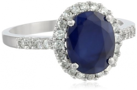 White-Gold Diamond and Sapphire Ring (0.4cttw, G-H Color, I1-I2 Clarity)