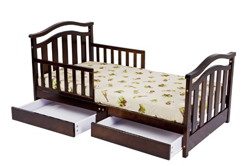 Dream On Me Elora Collection Toddler Bed with Storage Drawer, Espresso