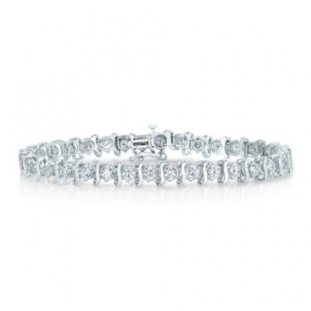 IGI Certified 14K White Gold Diamond Bracelet (3 CT) S-Link (I2 Clarity ; I-J Color)