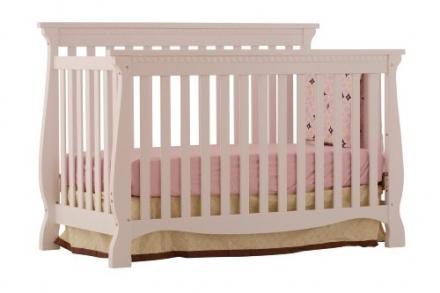 Stork Craft Venetian 4-in-1 Fixed Side Convertible Crib, White