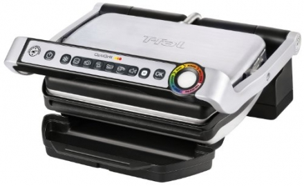 T-fal GC702D53 OptiGrill Stainless Steel Indoor Electric Grill, 1800-watt, Silver