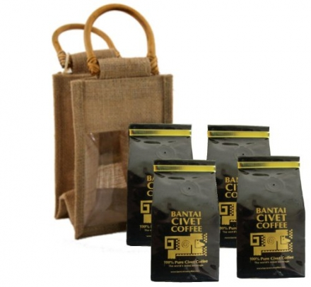 Kopi Luwak 1lb / 456 Grams 100% Pure Wild & Orgranic Civet Coffee Medium Roasted Robusta Whole Beans