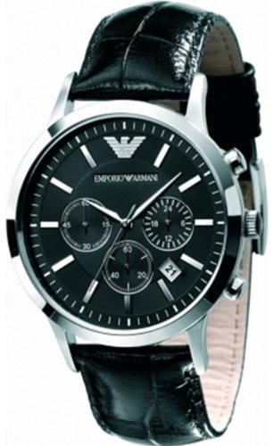 Emporio Armani Chronograph Black Dial Black Leather Men's Watch – AR2447
