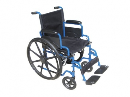 Drive Medical Blue Streak Wheelchair with Flip Back Detachable Desk Arms and Swing-away Foot Rest, B