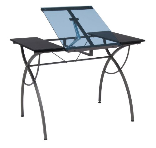 Studio Designs Catalina Craft Table in Pewter with Blue Glass 10081