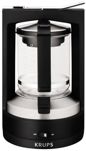 KRUPS KM468850 Moka Brewer Filter Coffee Maker, 10-Cup, Black