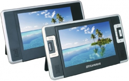 Sylvania SDVD8732 7-Inch Dual Screen Portable DVD Player with Built In 3.5 Hour Lithium Battery and