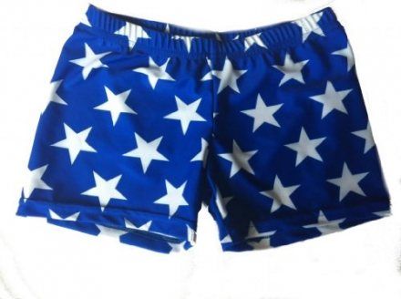 Blue with White Stars Spandex Shorts (available in 3 lengths)