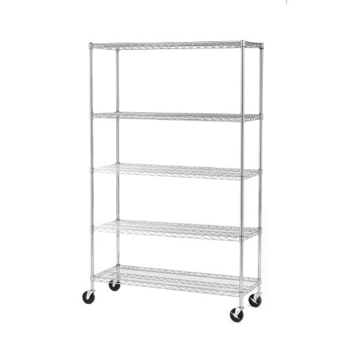 Seville Classics 5 Shelf, 18-Inch by 48-Inch by 72-Inch Shelving System with Wheels, NSF
