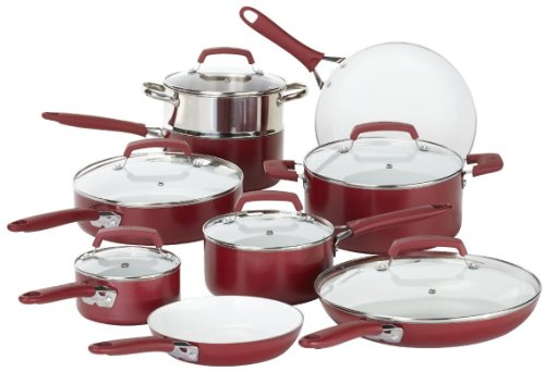 WearEver C943SF63 Pure Living Nonstick Scratch-Resistant Durable Ceramic Coating Healthy PTFE-PFOA-Cadmium Free Dishwasher Safe Oven Safe Cookware Set, 15 Piece, Red