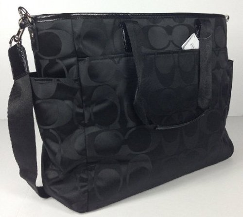 COACH Signature Nylon Baby Bag in Silver / Black 77577