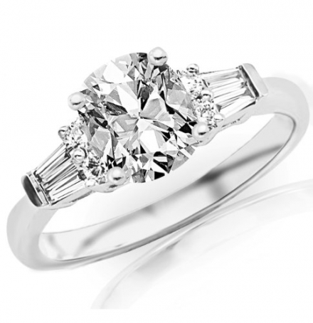 1.11 Carat Cushion Cut / Shape 14K White Gold Prong Set Round And Baguette Diamond Engagement Ring (
