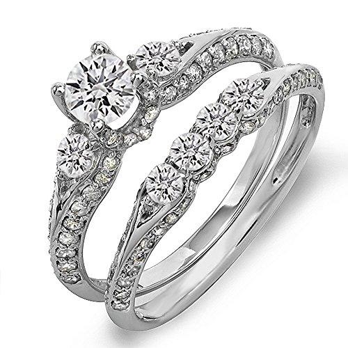 1.45 Carat (ctw) 14k Gold Round Diamond Ladies 3 Stone Bridal Engagement Ring Set Matching Band 1 1/