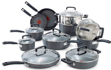 T-fal C770SI63 Signature Hard Anodized Oven Safe Durable Nonstick Thermo-Spot Heat Indicator Cookware Set, 18-Piece, Gray