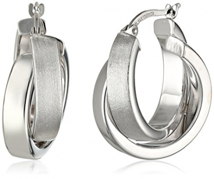 Duragold 14k Gold Satin and Polished Crossover Hoop Earrings