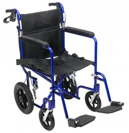 Medline Transport Wheelchair with Brakes, Blue