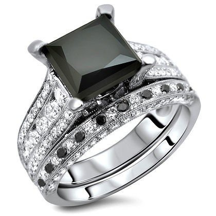 4.04ct Black Princess Cut Diamond Engagement Ring Bridal Set 18k White Gold