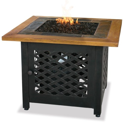 Uniflame GAD1391SP Lp Gas Outdoor Firebowl with Slate and Faux Wood Mantel