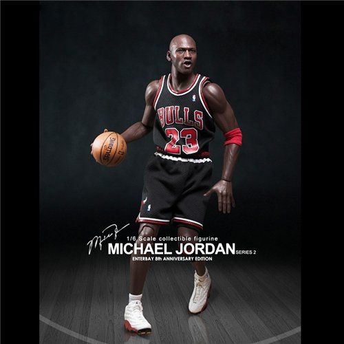 Enterbay x NBA Michael Jordan (Series 2) #23 Away Black Jersey 1:6 Figure with Air Jordan I / XIII shoes
