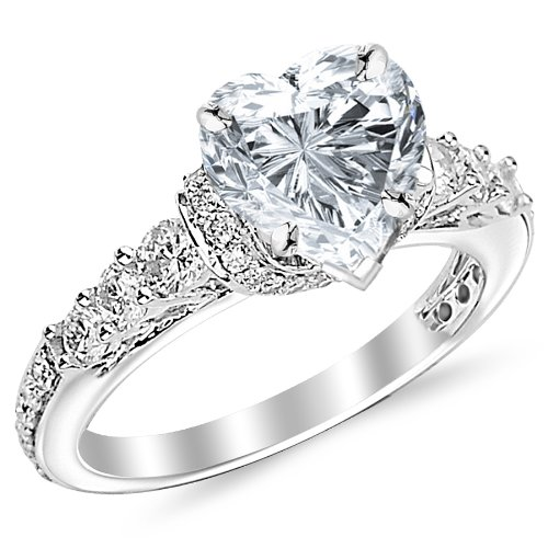 1.55 Carat Designer Four Prong Round Diamond Engagement Ring with a 0.7 Carat Heart Cut E Color SI2